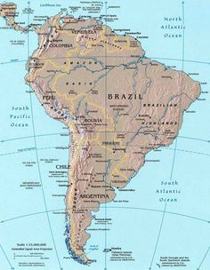 south america topographical map