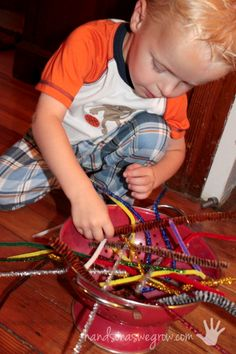 Using pipe cleaners for fine motor skills