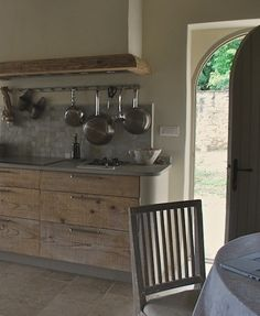 It looks like a modern take on a kitchen from Colonial Williamsburg