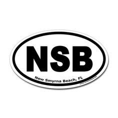 "New Smyrna Beach, FL ""NSB"" Oval Sticker. I think I need this for my car! Love New Smyrna Beach!"
