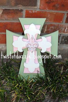 Medium Light Green Pink and White Cross by twistofdazzle, $35.00