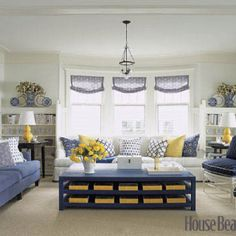 White yellow and blue motif