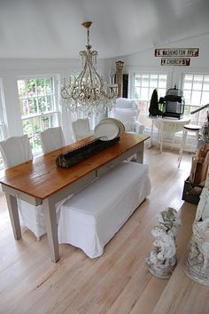 Elegant farmhouse - love the long NARROW table.  Maybe make with drawers in it for extra storage.