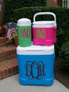 Love the monogram teacher gifts, silhouett, gift ideas, coolers, vinyl, graduation gifts, monogram cooler, wedding gifts, christmas gifts