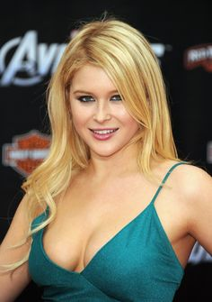Renee Olstead sexy cleavage in a low cut blue dress back during the Avengers premiere cycle.