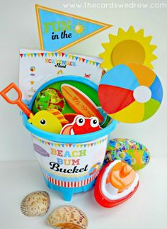 A fun bucket of toys, perfect for the pool or beach. Free printables included for other activities, like scavenger hunts and more!