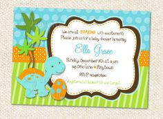 Dinosaur Baby Shower Invitations. $10.00, via Etsy.