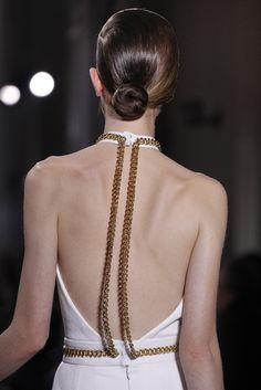 Saint Laurent evening dresses, detail, backless dresses, style, yves saint laurent, chain, fashion week, haute couture, couture fashion