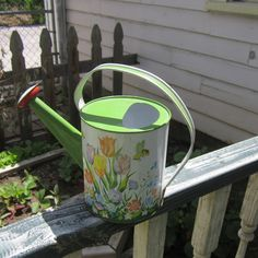 Vintage Tin Toy Watering Can Lithographed Tulips and Bumble Bees