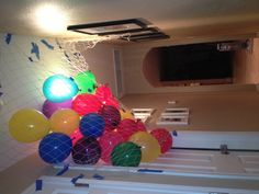 Birthday balloons fall when door is opened but doesn't scare the kiddies by trapping them in. I love my hubby-to-be. Brilliant!
