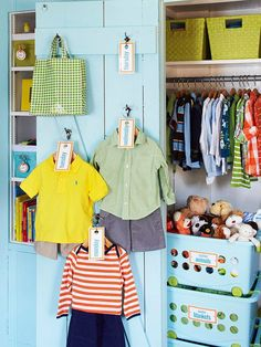 Hooks on the inside of a closet door are perfect for storing little ones outfits for the week. See more bedroom storage ideas: http://www.bhg.com/decorating/do-it-yourself/accents/easy-weekend-decorating-projects/#page=22