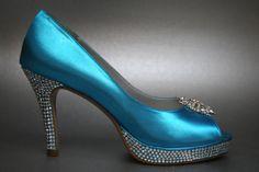 Blue Wedding Shoes - Turquoise Peeptoes