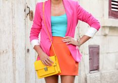hot pink blazer with pops of color