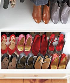 "Organized shoe drawer - ""The drawers were built for shoes,"" says Margot. ""But laid flat, my shoes didn't fit well. Angling was the solution, so I hired a carpenter."" #shoecloset #storage #closet"