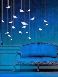 Blue with birds - glass pendant Smoon Birdie LED Lights