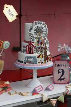 Handpainted wedding cake with vintage Carnival/Fairground theme - I actually can't express how much I love this. Amazing.