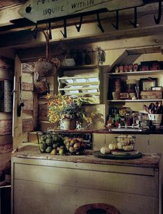 Primitive kitchen of James Kramer and the late Dean Johnson.