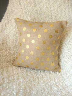 Gold Polka Dot Burlap Pillow