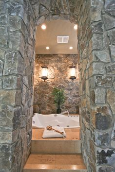 Moose Mountain Cottage Blend Thin Veneer stone from Montana Rockworks, Home built by Baywood Estate Homes #stone #thin veneer #design ideas #natural stone #bathroom #interior #mosaic #random