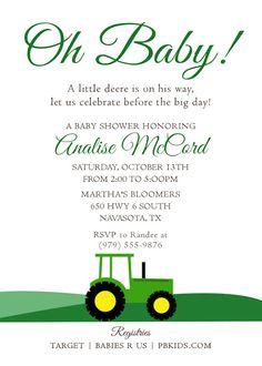 Printable Baby Shower Invitation Tractor Theme | John Deere