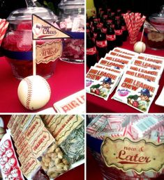 Very cute baseball party concessions table