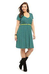$54.50 Emerald Green Mitered Stripe Belted Dress | Dresses--cute casual dress