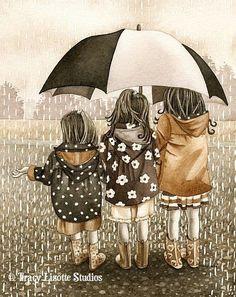 ... little girls, traci lizott, umbrella, raini, art, archiv watercolor, illustr, friend, april showers