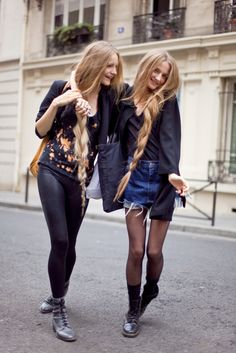 denim, tights and super long hair.. i want it all...