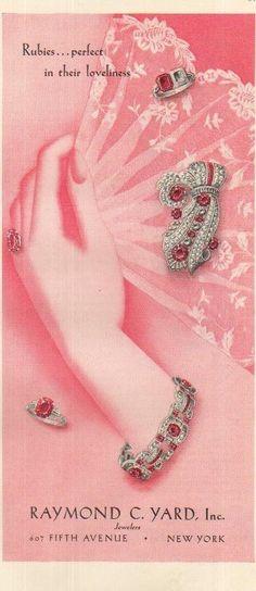 1939 Raymond C Yard Jewelry Store New York NY~Ruby Rings~Bracelet~Brooch 30s Ad | eBay
