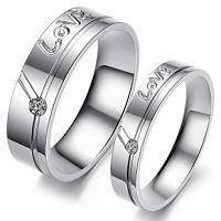 Name Engrave Titanium Steel Love Promise Couple Rings