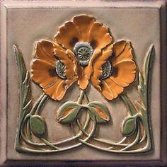art nouveau poppy tile