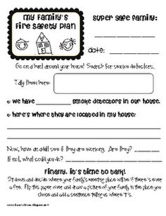 Lesson Plan SOS:  october- family fire safety plan homework