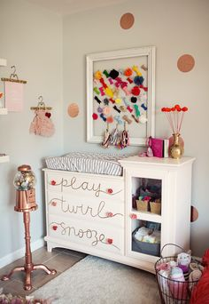 little girls, dresser, bow holders, nurseri, gumball machine, little girl rooms, drawer, changing tables, babies rooms