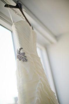 Wedding dress with beaded accents: http://www.stylemepretty.com/new-york-weddings/new-york-city/brooklyn/2014/05/01/modern-fall-brooklyn-wedding/ | Photography: CLY - http://www.clybymatthew.com/