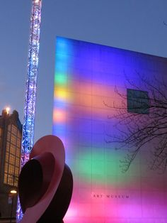 Feb. 11, 2013. The I.M. Pei-designed IU Art Museum is striking at any time, but perhaps never more so than during the evening when it is bathed in rainbow of color thanks to the light totem installed in 2007 to commemorate the museum's 25th anniversary. Photo by Mark Land.