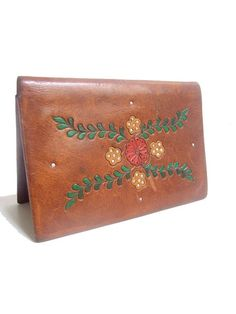 1950 tooled   painted  WALLET  natural tan leather by lesclodettes