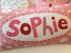 Girl's Large Personalised Name Cushion Pink with by halfpinthome, £36.00