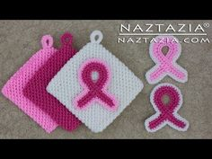 Learn How to Crochet - Pink Awareness Ribbon Magic Potholder & Refrigerator Magnet for Breast Cancer - YouTube