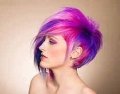 hair color styles, purple hair, hair colors, pixie cuts, colored hair, fashion hairstyles, brown hair, red highlights, color trends