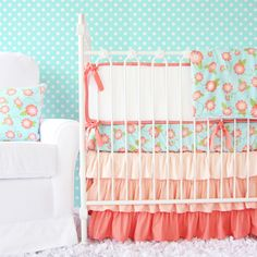 Coral floral crib bedding for the nursery