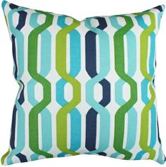 outdoor pillow in A New Twist Aquamarine fabric #toniclivingdreamroom #homedecor