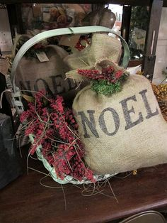 Noel Burlap Bags in a Prim Basket with Berries...