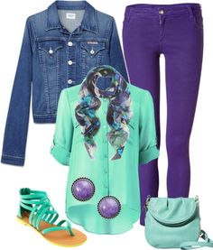 """Purple and Turquoise Outfit"" by moomoofan on Polyvore"