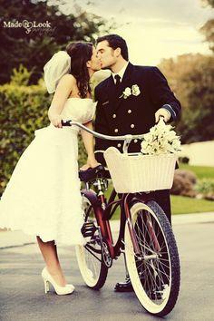 Tea Length A Line Retro Inspired Wedding by bridalblissdesigns wedding dressses, wedding photography, vintage bikes, wedding pics, bicycl, the dress, wedding photos, wedding pictures, short dresses