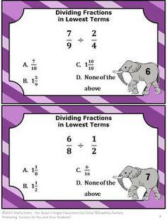Task Cards for Math Dividing Fractions