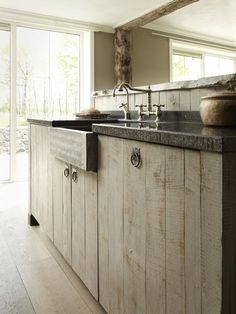landelijke keuken, hui, keuken van, van hout, hempen