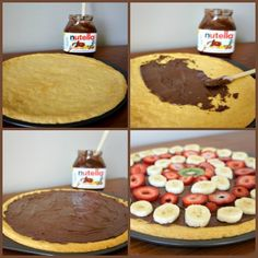 Fruit Pizza with Nutella and Cookie Dough Crust...this only takes about 20 minutes from start to finish!  #easy #dessert #nutella