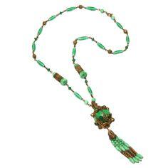 Czech Jadite Tassel Necklace    1920s