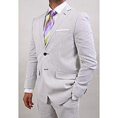 Olive Pin Stripe Cotton 2-button Suit