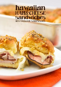 Ham and gooey cheese sandwiched between Hawaiian rolls and topped with a delicious dressing. Great as an appetizer or a meal!